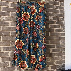 Teal floral palazzo pants by ATL. Size 6p.